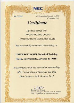 chứng nhận nhà phân phối Nec